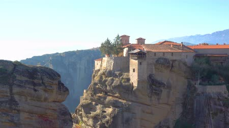 meteorou : The Varlaam monastery in Meteora in the morning, Greece. Zoom out