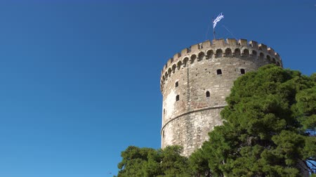 makedonia : The White Tower in Thessaloniki, Greece. Copyspace composition