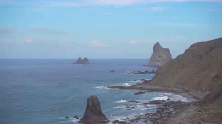 kanarya : Rocky coast of Tenerife and Benijo beach, Canary Islands