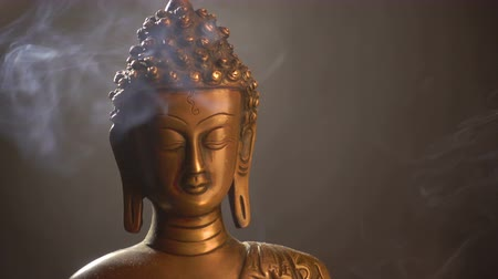 statuette : Rotation if statuette of Buddha and smoke of incense sticks Stock Footage