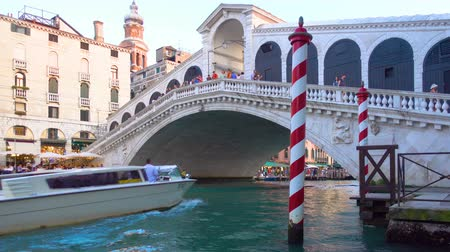 motorbot : Venice, Italy - June 17, 2018: Water taxi goes under The Rialto Bridge in Venice Stok Video