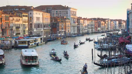 water taxi : Venice, Italy - June 17, 2018: View of the Grand Canal in Venice in the evening