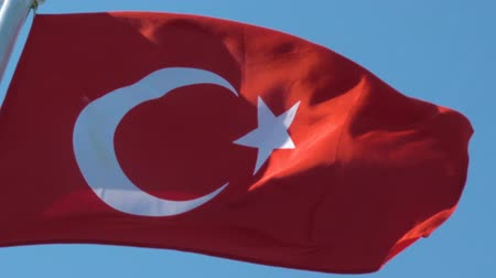 deceleration : Flag of Turkey - Turkish flag in the wind Stock Footage