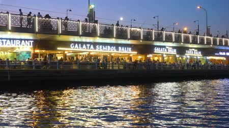 signboard : Istanbul, Turkey - July 15, 2018: Cafes and restaurant with turkish fish sandwiches (Balik Ekmek) on The Galata Bridge in Istanbul at night