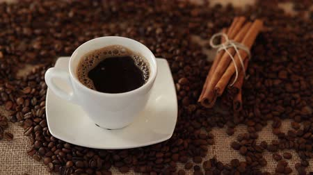 tarçın : Cup of coffee with cinnamon and coffee beans Stok Video
