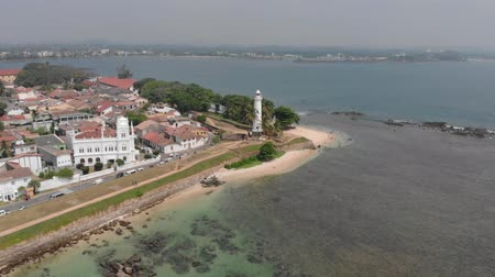 Galle Fort Srilanka Luchtvideo Indische Oceaan Galle Lighthouse Stockvideo