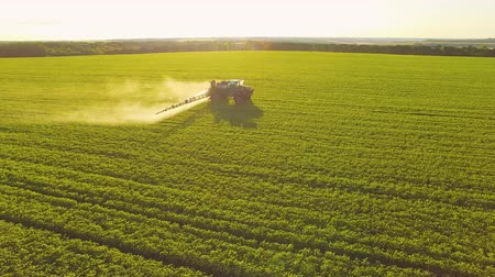 savanyúság : Tractor spraying pesticides on soybean field with sprayer at spring. Aerial Quadcopter Shooting
