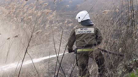 mangueira : Firefighter extinguishes fire Stock Footage