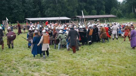 knightly : RITTER WEG, MOROZOVO, JUNE 2016: Festival of the European Middle Ages. Medieval joust with knights and spears in armour and costume fight wall to wall