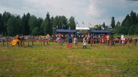 knightly : RITTER WEG, MOROZOVO, JUNE 2016: Festival of the European Middle Ages. Medieval joust with knights on a hors in armour and costume.