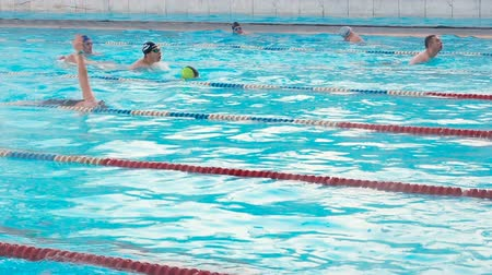 curso : Moscow, Russia, February 16, 2019: Active people swim outdoor in a sports pool Chayka in winter. Swimming in the open air basin wintertime. Men and women swim in breaststroke style