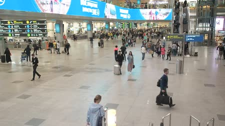 troli : Moscow, Russia - May 6, 2019: People at the Domodedovo International Airport. Registration of passengers on the flight. People walk with carts and luggage around the airport