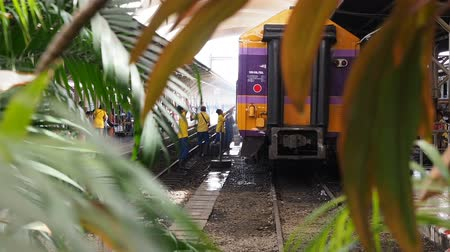 train workers : Bangkok, Thailand - May 25, 2019: An employee washes a railway passenger car at Hua Lamphong, A group of workers washes train cars at the Bangkok main train station Stock Footage