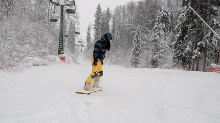 pedleri : Stepanovo, Russia -January 15, 2019: A young girl learns to snowboard. A beginner snowboarder descends from the ski slope in snowy weather. Newbie snowboarder makes first descent attempts on the board