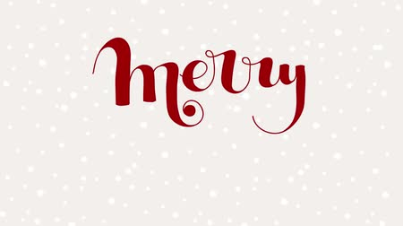 шрифт : Merry Christmas lettering with snowing in the background