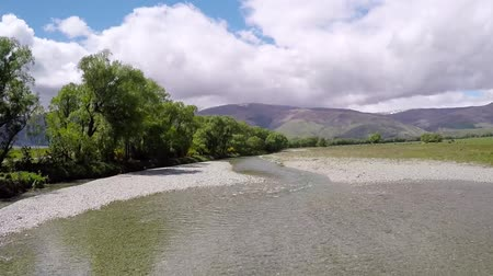 fly fish : Aerial view of pristine fly fishing river in New Zealand�s South island.