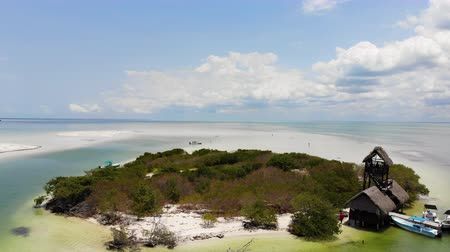 flaming : Aerial shot of Isla de la Pasion near Isla Holbox on a sunny day, Mexico