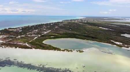 perfect weather : Aerial view of Punta Coco on Isla Holbox, Quintana Roo, Mexico