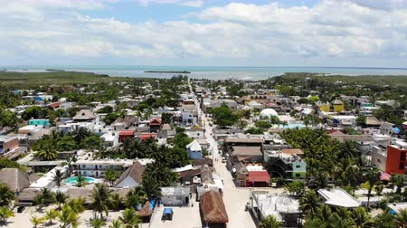 Aerial view of Isla Holbox town centre and main beach, Quintana Roo, Mexico