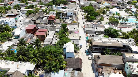 white sand : Aerial view of Isla Holbox town centre and main beach, Quintana Roo, Mexico