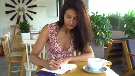 Female student studying in cafe