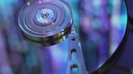 Hard Disk Drive, computer data storage, blue surface.