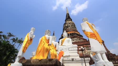 budist : Lord Buddha and his Disciple Behind Cetiya Dolly in Wat Yai Chai Mong Kol Ayutthaya Thailand Stok Video