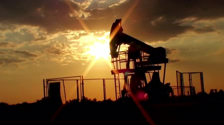 zvedák : Pumpjack in action during sunset time