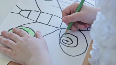 preschool : Kids drawing at kindergarten Stock Footage