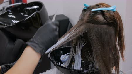 beyazlatmak : Professional hairdresser, stylist coloring hair of woman client at salon, studio. Beauty and fashion concept