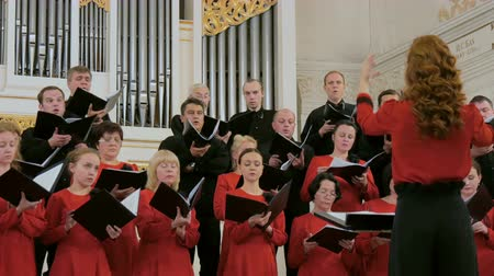 choral : NIZHNIY NOVGOROD, RUSSIA - JUNE 2018 - Conservatory - Group of people singing in choir