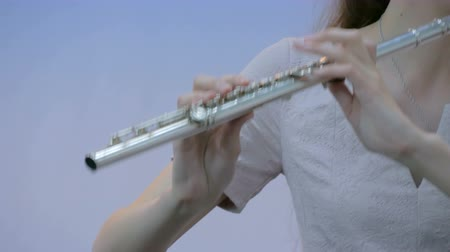 fife : Symphony concert - unrecognizable woman playing flute - close up shot. Music and culture concept