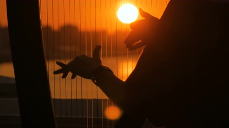 k nepoznání osoba : Close up shot - woman hands playing harp on city embankment at sunset. Music, leisure and culture concept