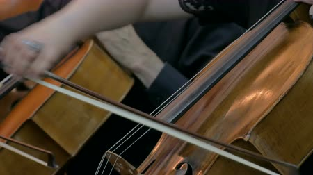 виолончель : Symphony concert - unrecognizable woman playing cello - close up shot. Music and culture concept