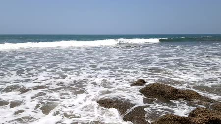 goa : Timelapse of stony coast of the Arabian Sea. Boundless blue summer ocean. Travel tamplate. Stock Footage