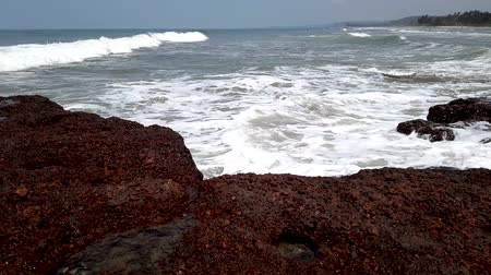 goa : Timelapse of coastline of the Arabian Sea. Waves, silhouettes of the people bathing in water. Summer travel concept.